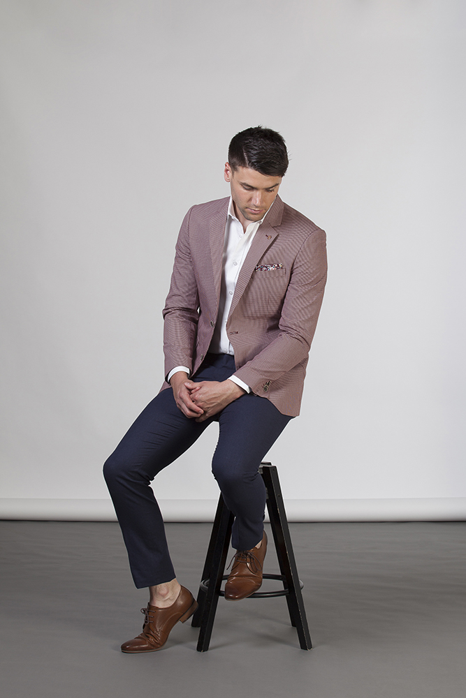 man in red jacket sitting on stool_melbourne photographer_mens fashion_8